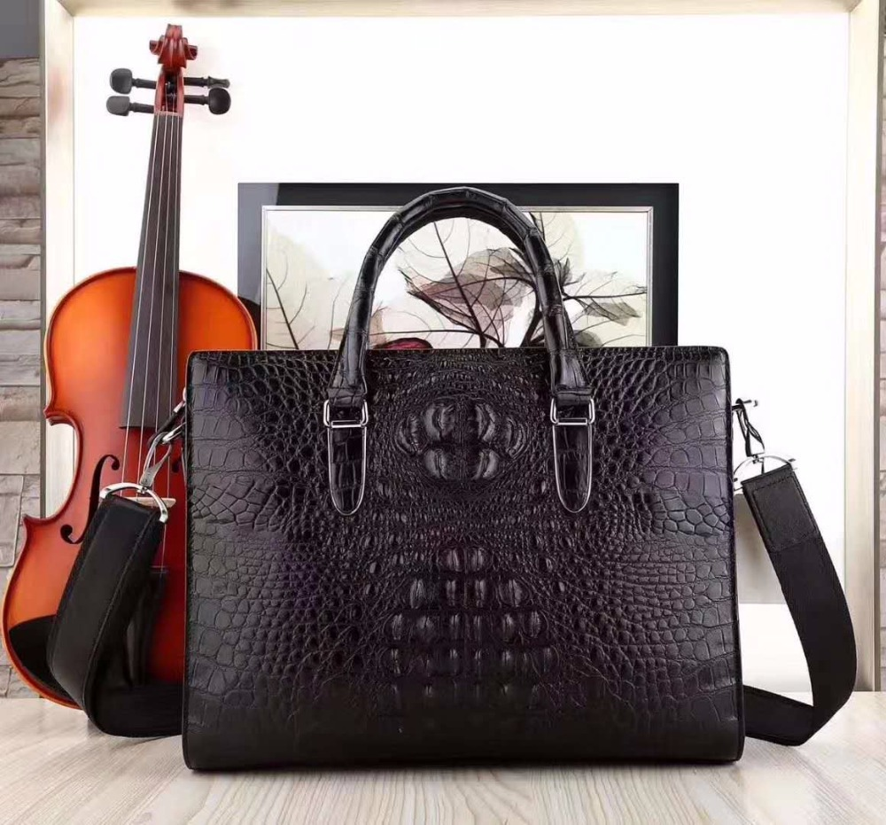 все цены на 2018 latest hot luxury solid 100% genuine real crocodile leather head skin men business bag young men laptop bag briefcase онлайн
