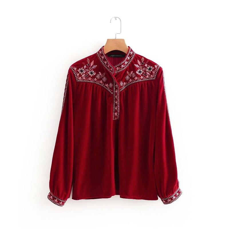 2018 Frauen Vintage Stehkragen Stickerei Samt Casual Kittel Bluse Shirt Frauen Falten Chic Blusas Kimono Femininas Tops Ls2658