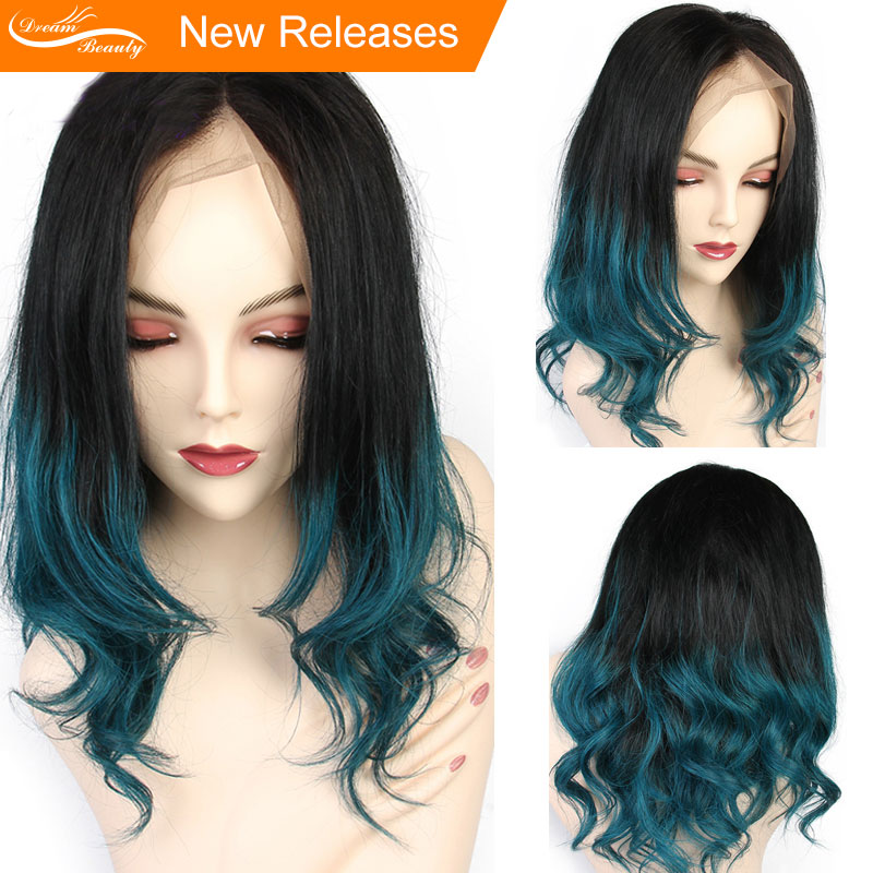 Dream Beauty Ombre Green Wig Two Tone13x6 part Lace Frontal Human Hair Wig 1B Green Color
