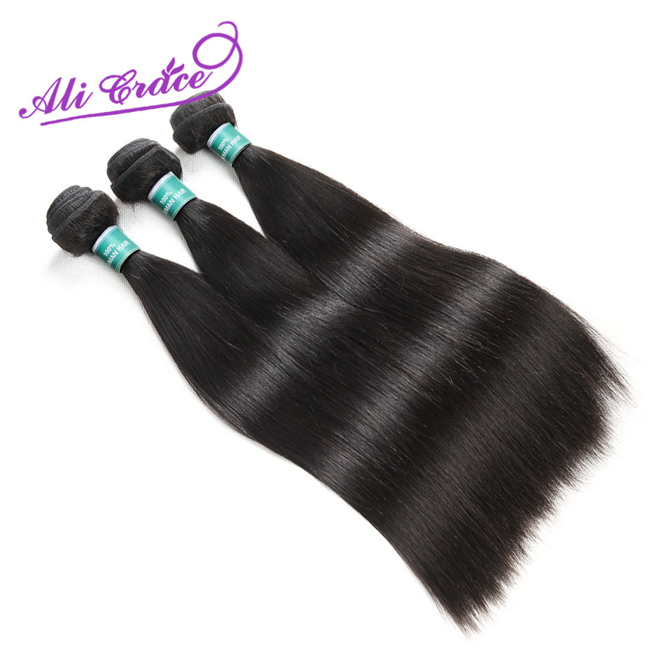 Hair-Extension Ali-Grace Straight 3-Bundles Peruvian 100%Human-Remy Natural-Color 10-28inch