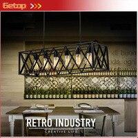 ZX American Retro Wrought Iron Frame Pendant Lamp Edison E27 Black Rectangle Industrial 4/6 Lights Bar Restaurant Hanging Lamp