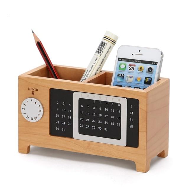 creative wood storage box calendar pen storage cabinet desktop
