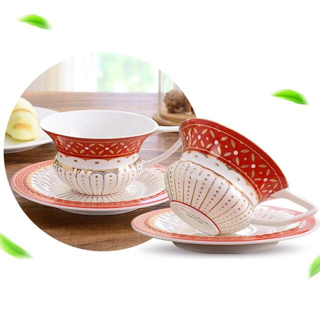 220ML Creative Joyous Red Peach Shape Ceramic Royal Cappuccino Coffee Milk  Mug With Saucer Kit Hotel