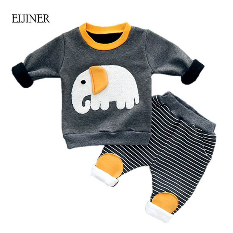 Thicken Velvet Warm Baby Boy Clothing Set Winter 2017 Fashion Cotton O-Neck full Sleeve Elephant Print Children Boys Clothes warm thicken baby rompers long sleeve organic cotton autumn
