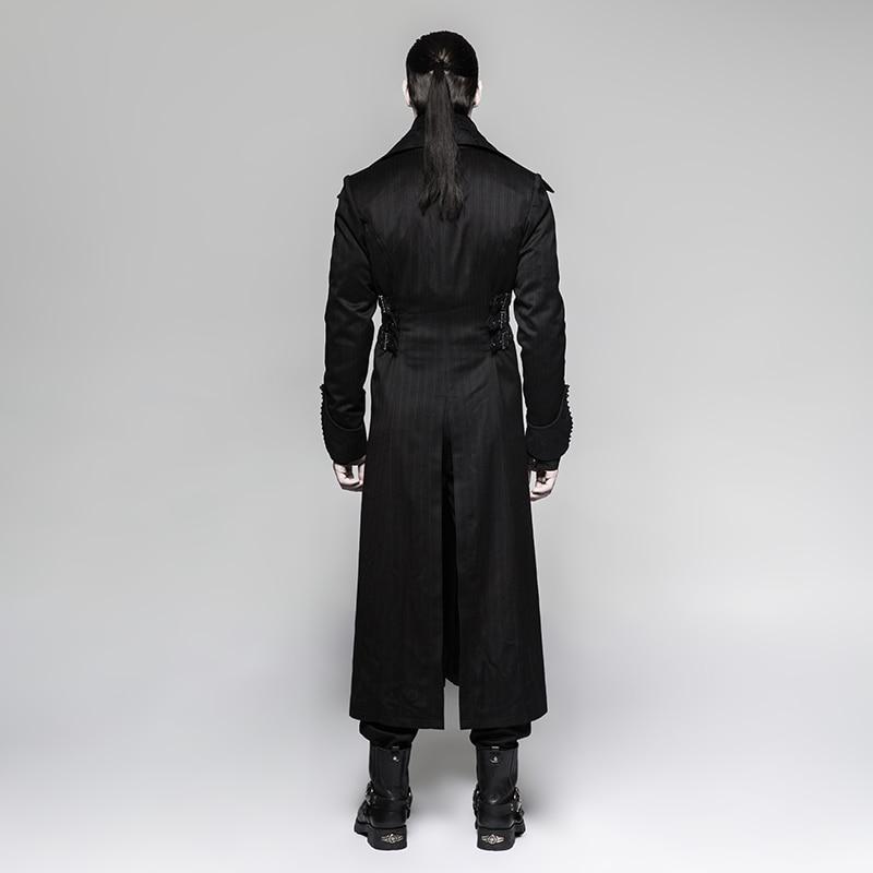 Стимпанк мужская длинная куртка в черную полоску с красными полосками пальто зимнее пальто Сценический костюм для костюмированной вечеринки - 3