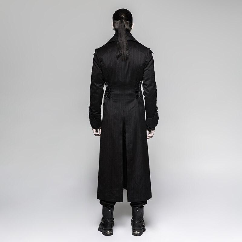 Chaqueta larga Steampunk para hombre negro a rayas Rojo abrigo de rayas abrigos de invierno etapa rendimiento personalidad Cosplay traje - 3