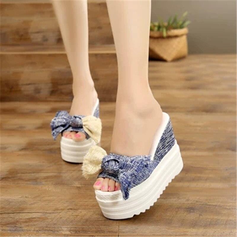 FeiYiTu 2019 New Flowers Woman Beach Flip Flops Summer Slides High Heels Slippers Platform Shoes Female Rubber Wedge New Fashion in Flip Flops from Shoes