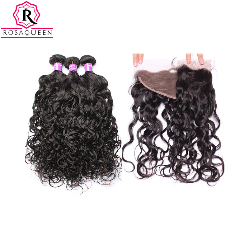 Brazilian Human Hair Weave Bundles With Closure Water Wave Bundles With Closure Frontal 13X4 4Pcs Remy Rosa Queen Hair Products