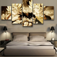 Canvas Painting Wall Artwork Modular Goku and Vegeta Pictures For Living Room 5 Panel Dragon Ball Poster Art Modern Frame Decor