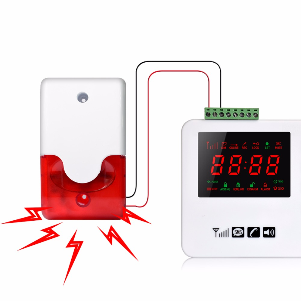 Wired Strobe Siren 12V 24V 220V Sound Alarm Strobe Flashing Red Light Sound Siren Home Security Alarm System 115db
