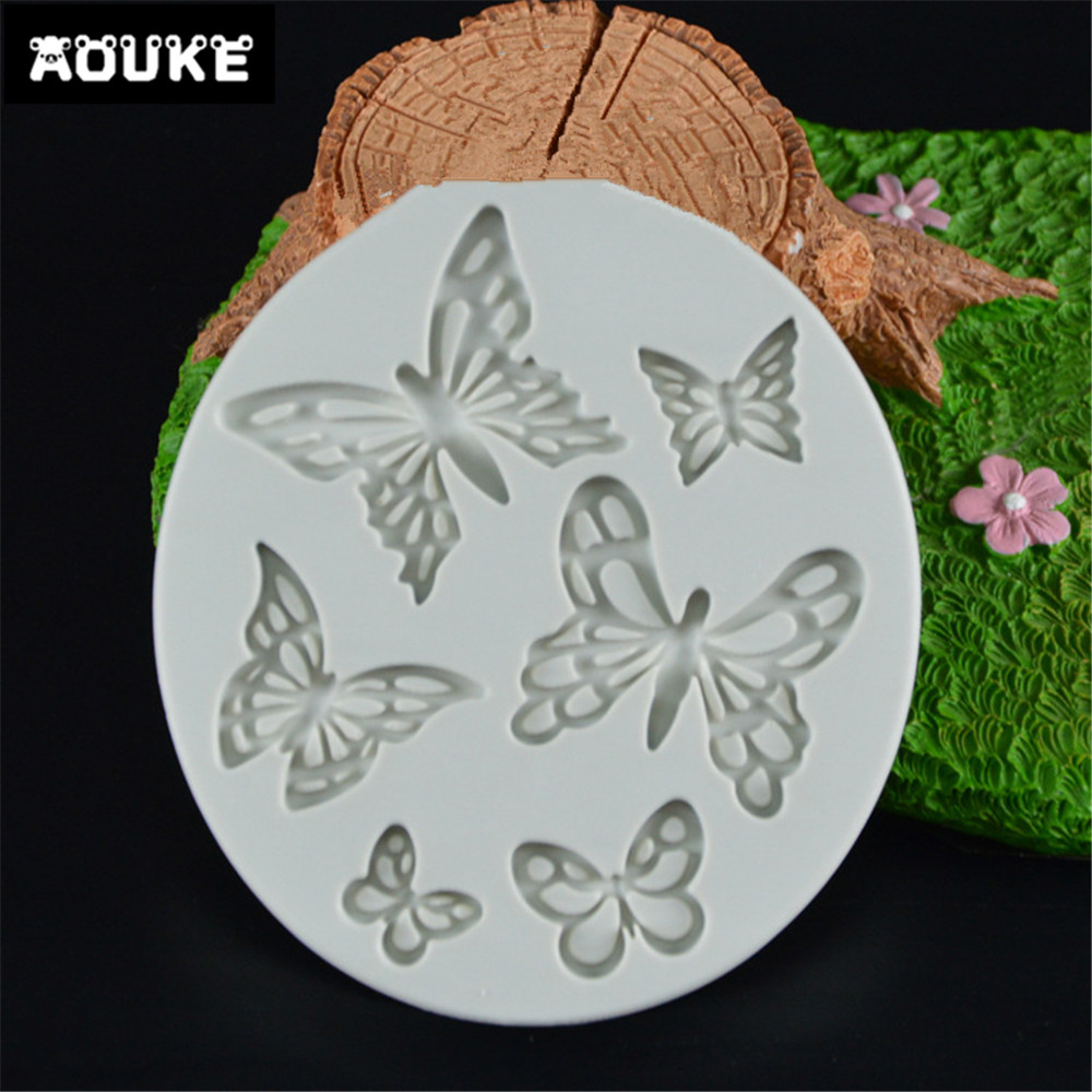 Butterfly Shape Fondant Cake Silicone Mold Biscuits Pastry Mould Ice Cube Chocolate Candy Molds Cake Decoration Baking Tool K047