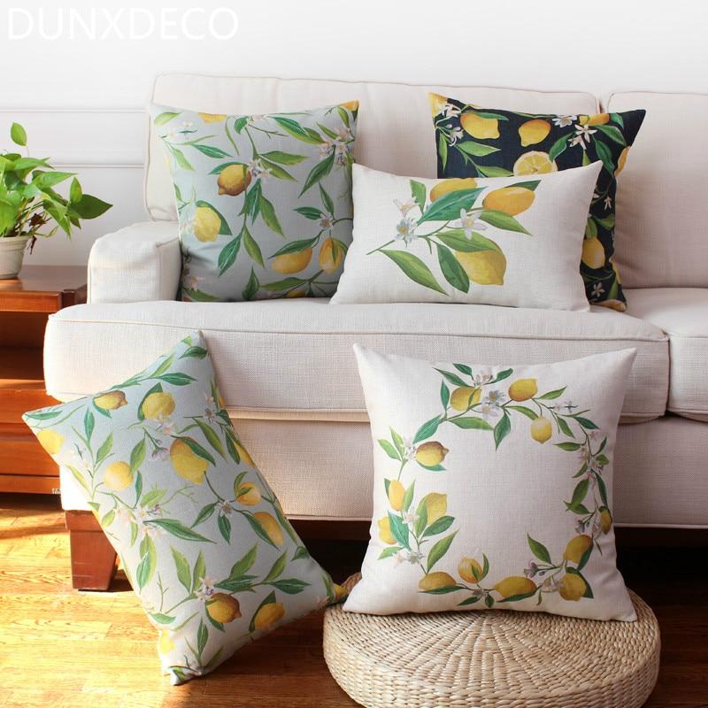 Dunxdeco Cushion Cover Decorative Pillow Case Fresh Lemon Tree Plants Print Home Garden Sofa Chair Decoration Throw In Cushion Cover From Home
