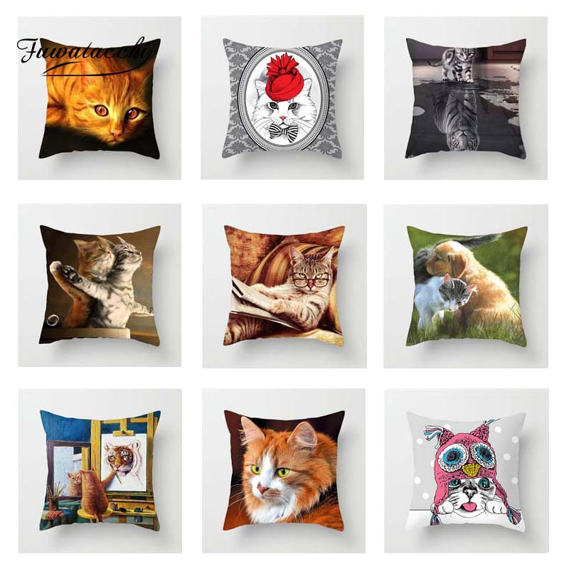 Fuwatacchi Cute Cats Cushion Cover Animals 3D Print  Square Pillow Cover For Home Sofa Room Chair Car Decorative Pillowcase