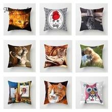 Fuwatacchi Cute Cats Cushion Cover Animals 3D Print  Square Pillow For Home Sofa Room Chair Car Decorative Pillowcase
