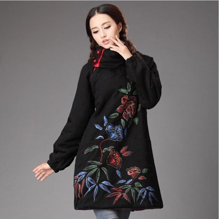 Invierno tyle chineses retro rana freehand flor de lino puro suéter chaqueta abr