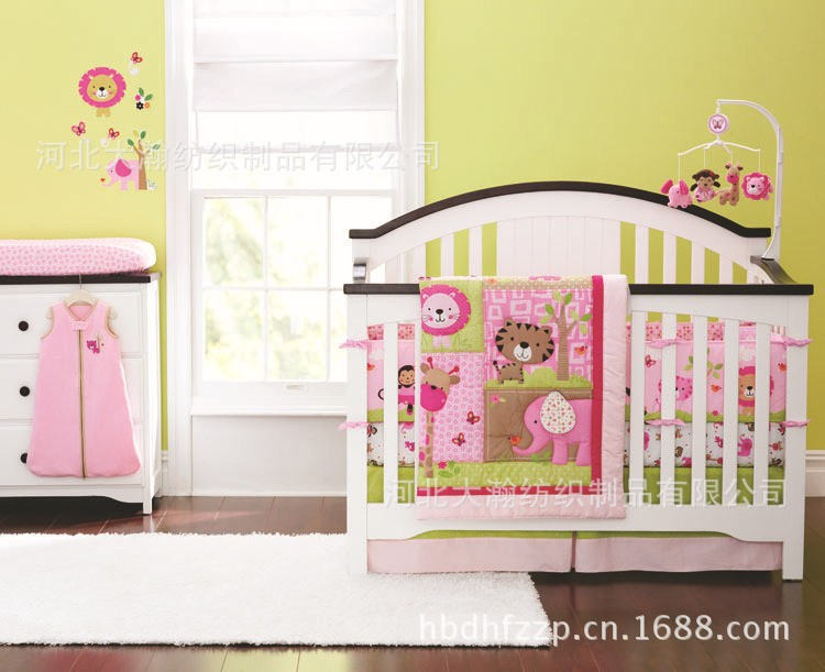 Promotion! 4PCS baby crib bedding set quilt bed around bumper mattress cover,sheet for girls (bumper+duvet+bed cover+bed skirt) infant bedding set newborn crib bedding set cute milk bottle and cows design with bed sheet quilt cover and pillowcase baby bed