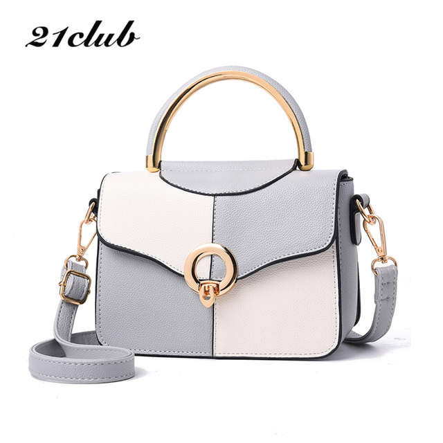 21club women casual metal ring panelled cover hasp small falp handbag high quality ladies party purse crossbody shoulder bags