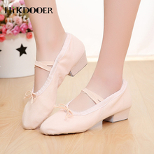 2019 Ladies Dance Shoes Square High-heeled Women Ballet Top Quality Canvas Breathable Adult Yoga Gym Danceing