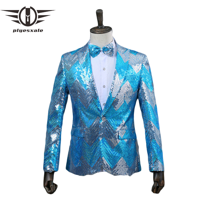 Plyesxale Shiny Blazer For <font><b>Men</b></font> 2018 Gradient Blue <font><b>Green</b></font> <font><b>Sequin</b></font> Blazer <font><b>Jacket</b></font> Brand <font><b>Mens</b></font> Wedding Prom Party DJ Stage Blazers Q295 image