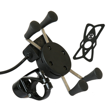 Multi-function 30V Automatic Power Off Universal Motorcycle Phone Mount Holder With USB Charger for Most and GPS Device