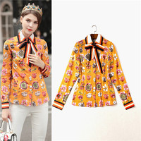 European Style Brand Floral Print Women Chiffon Blouses 2017 Spring Fashion Long Sleeve Shirts Ladies Tops Plus Size XL Orange