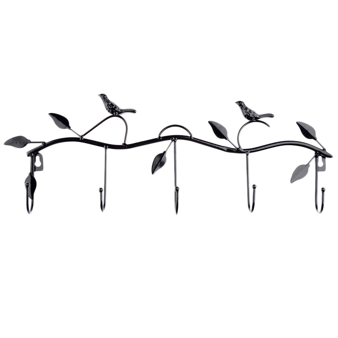 Home Decore Tree Branch & Birds Style Metal 5 Hooks Wall Mount Hook Hanger Rack Holder For Coat Clothing Towel Shelves- Black