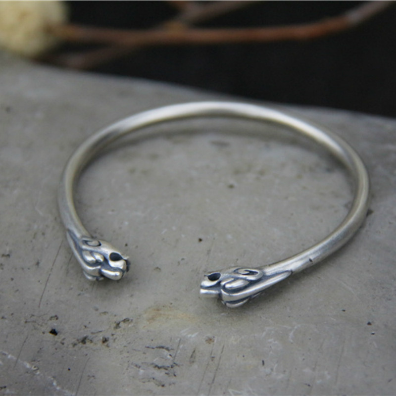 Bangle Bracelet 925 Sterling Silver Dragon Head Open Bangle Viking Bracelet Norse Jewelry Gifts for Him