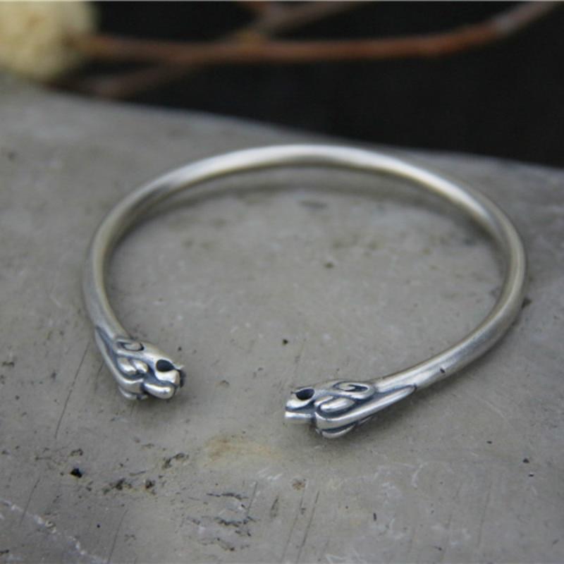 Bracelet et Bracelet en argent Sterling 925 tête de Dragon Bracelet ouvert Bracelet Viking bijoux nordiques cadeaux pour lui