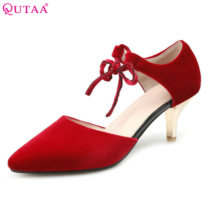 QUTAA 2017 Women Pumps Summer Ladies Shoes Bow Tie Thin Med Heel Pointed Toe PU Leather Sexy Woman Wedding Shoes Size 34-43 plus size 11 12 black pointed toe wedding women shoes summer office ladies work shoes thin high heel pu leather woman pumps