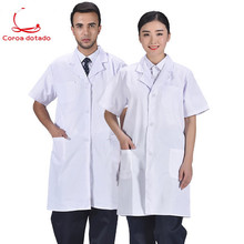 Short-sleeved white coat for male and female doctors, isolation coat, pharmacy laboratory work clothes