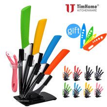 Ceramic knife set 3'4'5'6' kitchen knives chef knives Paring hot sale kitchen tool cutter meat knives with stand/holder(China)