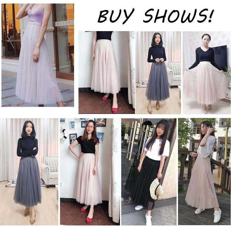Jielur Autumn 3 Layers Princess Tulle Skirts Vintage Solid Color Mesh Women Skirt Pleated A-line Saia Female Jupe Tutu Skirts 4