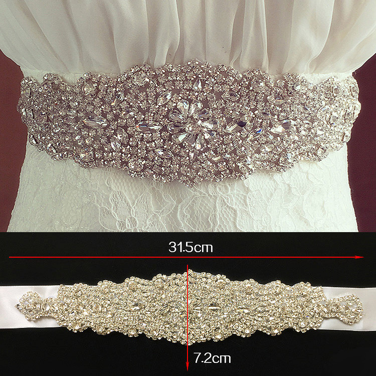 Hot Sale Elegant Rhinestone Vintage Crystal Wedding Party Bride Bridesmaid Belt Dress Flower Sash Accessories 2018