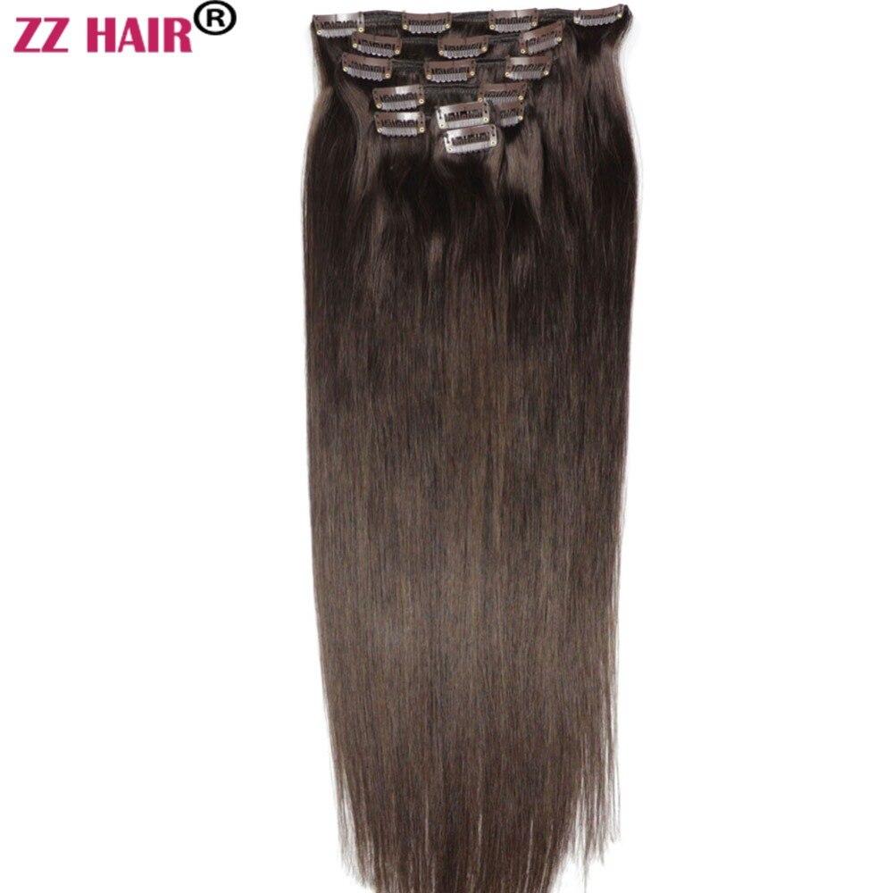 Extensions de cheveux 100 naturels Remy lisses-ZZHAIR | Cheveux humains, 16 à 26 pouces, poids 140g à 100% g, ensemble de 7 pièces avec Clips, tête complète, faites Machine