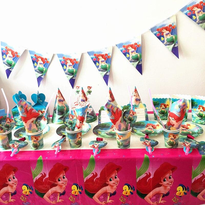 3421 8 De Descuento97 Unidslote Ezcopas De Sirena Para Fiesta De Cumpleaños Para Niños Suministros De Diseño De Sirena Platos De Cristal