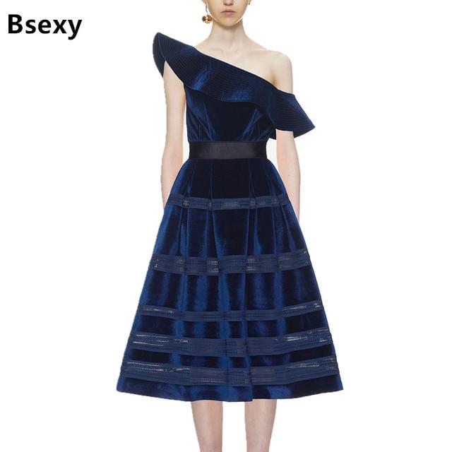 48b377643a6 Sexy Women Long Dress 2018 Navy Blue Velvet Dress Oblique Ruffle One  Shoulder Women Ball Gown Midi Dress vestido de festa