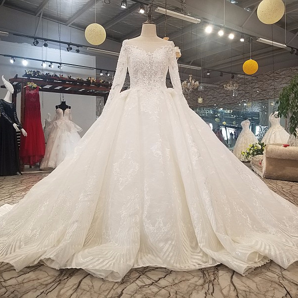 6111 V-back Wedding Dress Long See-through Sleeve Ball Gown Muslim Wedding Dress High Quality Bridal Gown