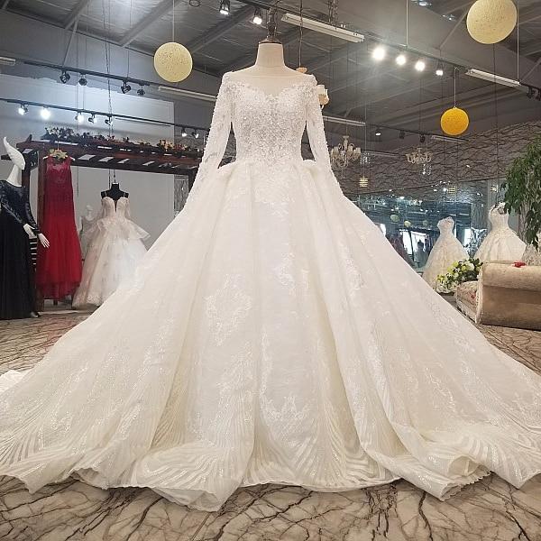 6111 V back Wedding Dress Long See through Sleeve Ball Gown Muslim Wedding Dress High Quality