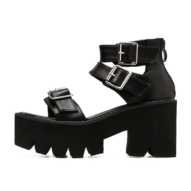 GBHHYNLH buckle sandal peep toe heels gladiator platform sandal summer shoes female casual sandals thick platform shoes LJA272
