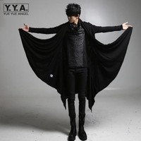 2019 New Avant garde Long Style Trench Mens Black Punk Rock Style Outerwear Boys Brand Clothing Personality Loose Casual Coats