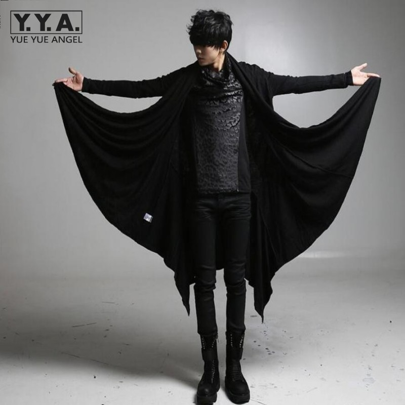 2019 nouveau avant-gardiste Long Style Trench hommes noir Punk Rock Style vêtements d'extérieur garçons marque vêtements personnalité lâche manteaux décontractés