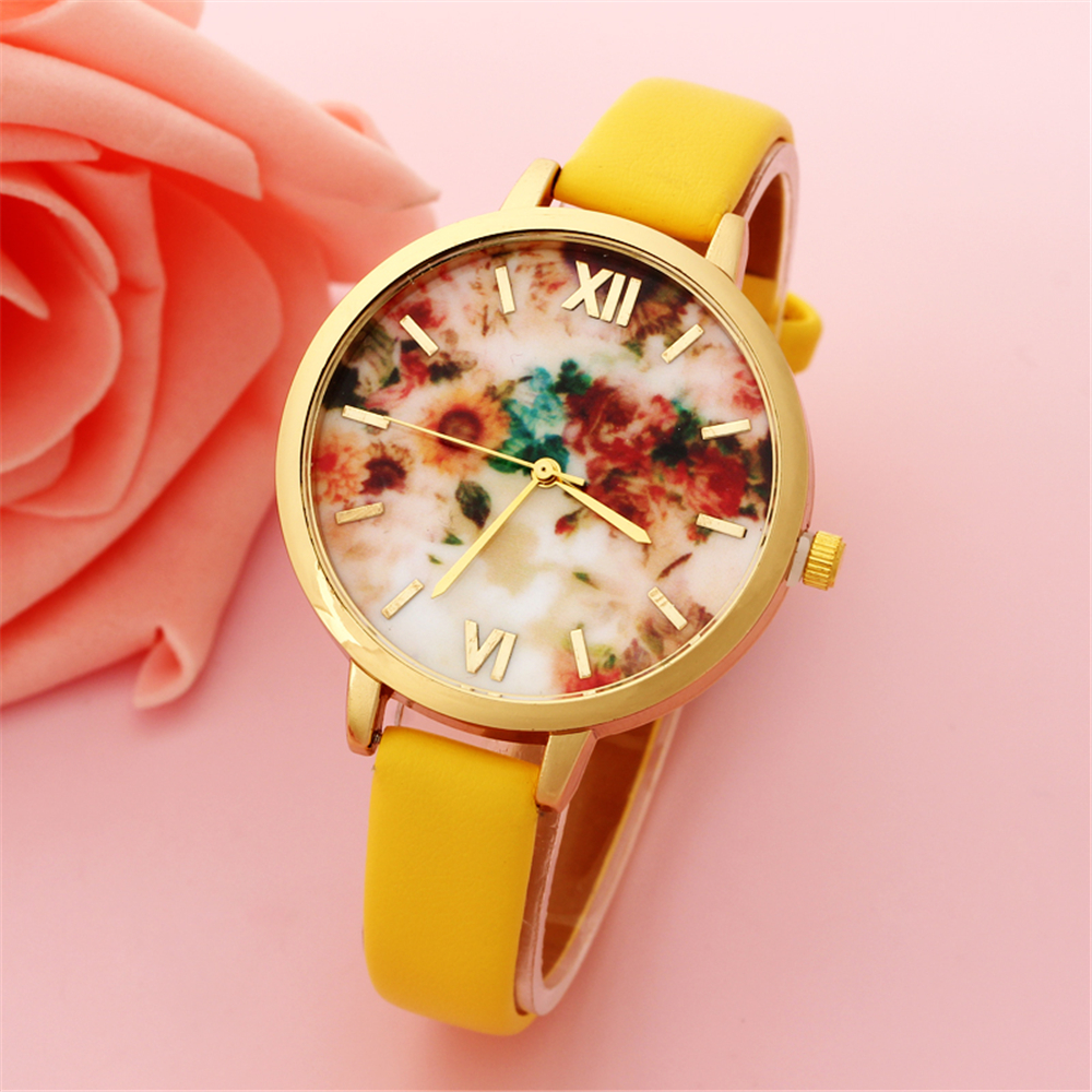 Girls Fresh Style Yellow Fashion Thin Band Leather Watch Women Luxury Top Brand Casual Sport Analog Watch