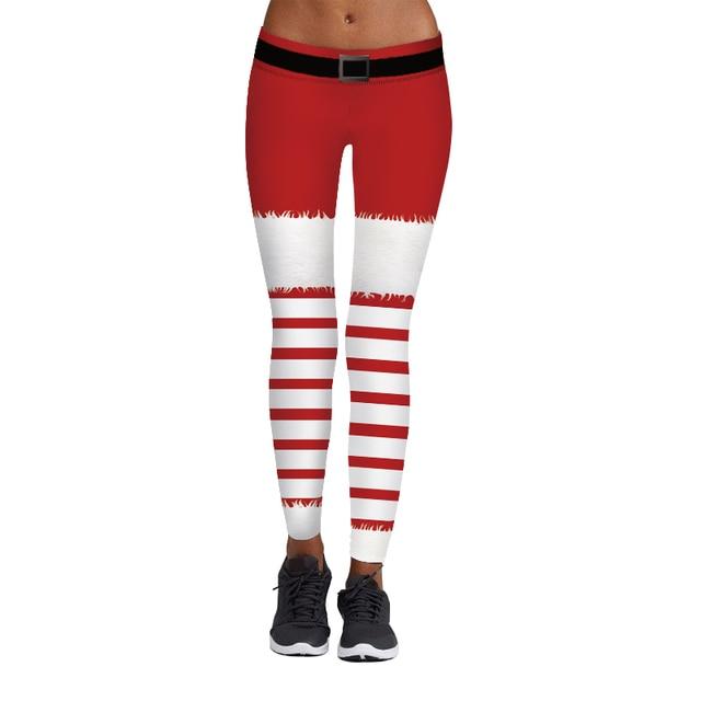 acdb89728c288 Christmas Style Women Yoga Pants Festival Sport Leggings Santa Claus Stripe  3D Print Workout Capris Running Trouser Gym Jeggings
