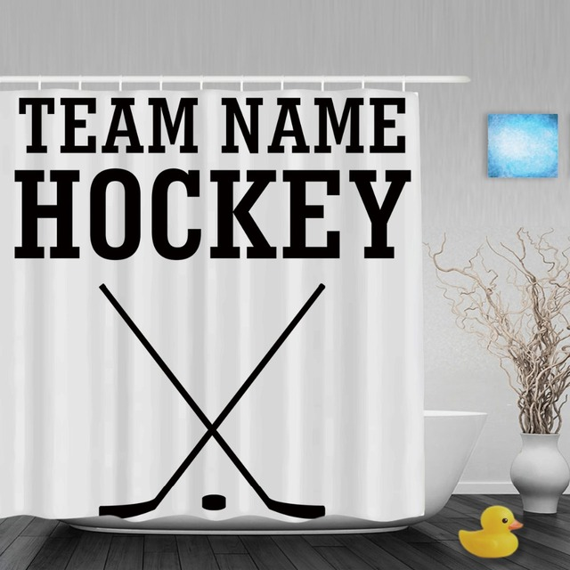 Customize Team Name Hockey Shower Curtain Personalized Home Decor Bathroom  Shower Curtains Polyester Fabric With Hook