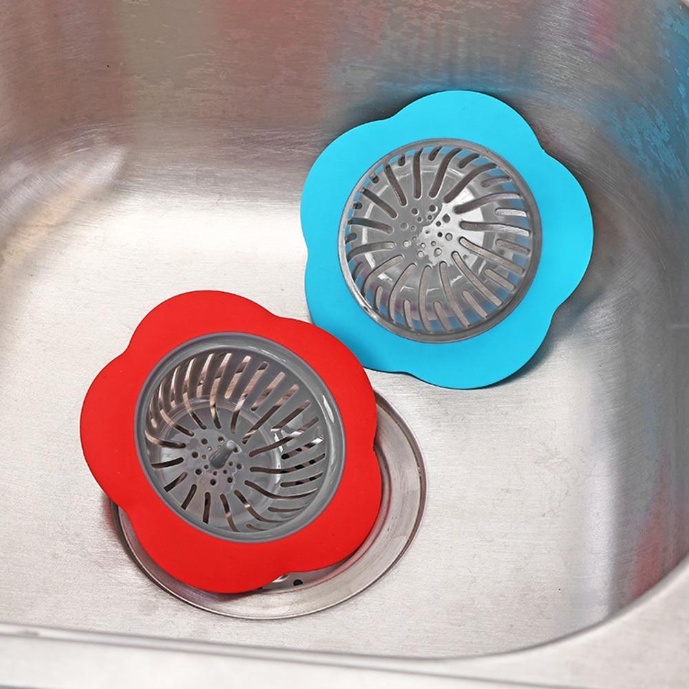 Kitchen Accessories Silicone Sink Strainer Flower Shaped Shower Sink Drains Cover Sink Colander Sewer Hair Filter  Kitchen Sink