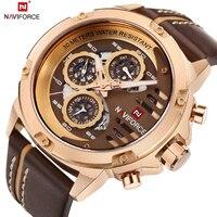 NAVIFORCE Mens Watches Top Brand Luxury Waterproof 24 Hour Date Quartz Watch Men Leather Sport Wrist