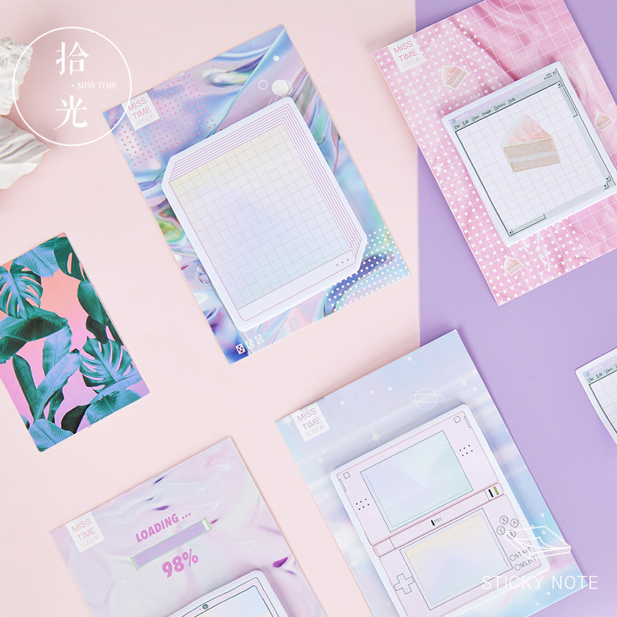 Creative Vapor Wave Self-Adhesive Memo Pad Sticky Bullet Journal Notes Notepad Bookmark School Office Supply Stationery