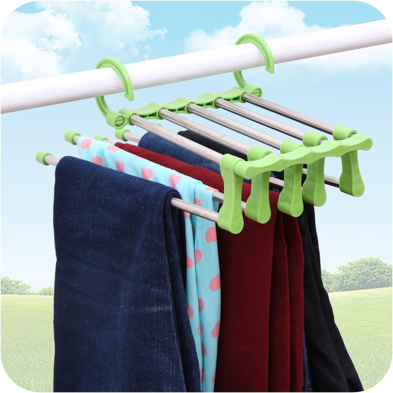 Creative rack multifunction pants hanger Foldable shelf organizer clothes hangers Stainless steel retractable pants rack