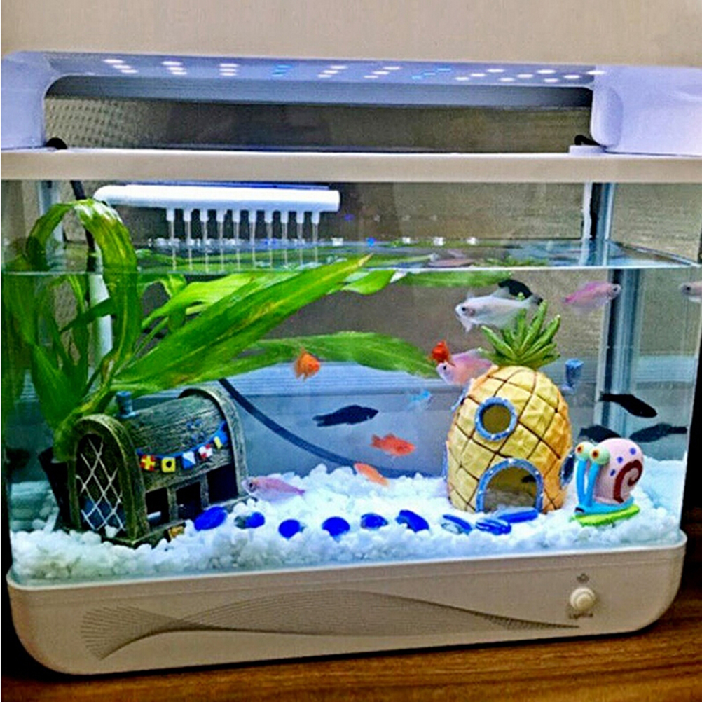 Fish for aquarium online - New 1pc Home Yellow Mini Pineapple Cartoon House Home Fish Tank Aquarium Ornament Art Decorations Escape