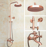 7.7 Inch Rain Shower Head Vintage Retro Red Antique Copper Bathroom Wall Mount Rainfall Ceramic Handshower Shower Set arg515